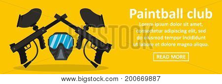 Paintball club banner horizontal concept. Flat illustration of paintball club banner horizontal vector concept for web