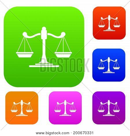 Scales of justice set icon in different colors isolated vector illustration. Premium collection