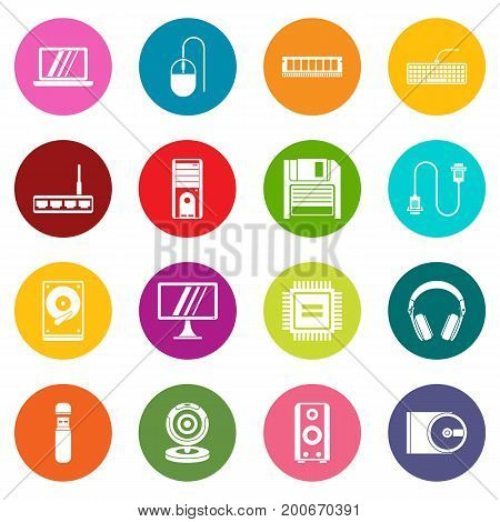 Computer icons many colors set isolated on white for digital marketing
