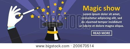 Magic show banner horizontal concept. Flat illustration of magic show banner horizontal vector concept for web