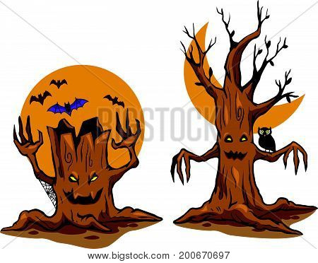 Vector illustration of ghost tree. Vector stock for Halloween theme.