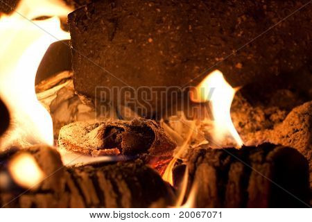 Flames And Ashes In The Stove