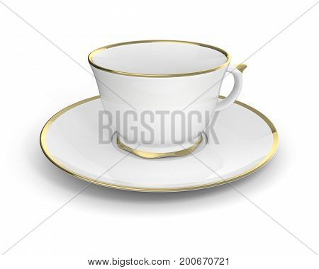 Isolated antique porcelain white tea cup on saucer with gold edging on white background. Vintage crockery. 3D Illustration.
