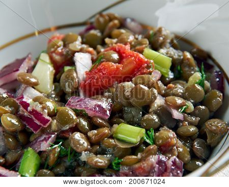 Lentejas veraniegasSpanish salad with lentils close up healthy meal