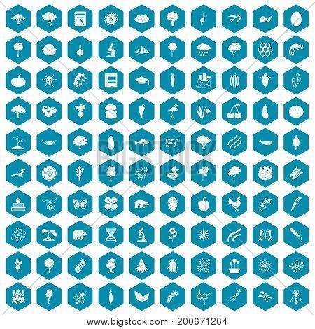 100 microbiology icons set in sapphirine hexagon isolated vector illustration
