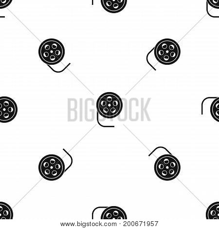 Reel with film pattern repeat seamless in black color for any design. Vector geometric illustration
