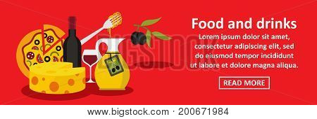 Food and drinks italy banner horizontal concept. Flat illustration of food and drinks italy banner horizontal vector concept for web