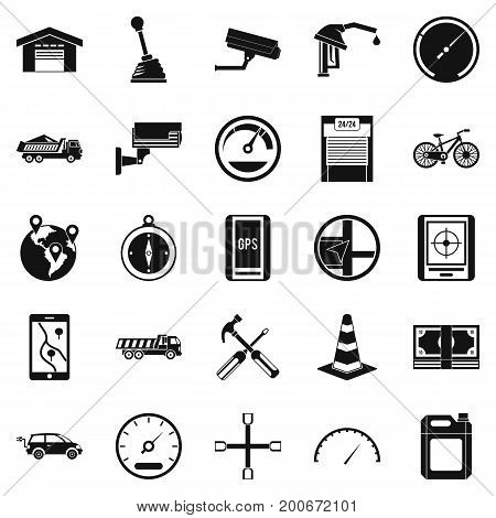 Large parking icons set. Simple set of 25 large parking vector icons for web isolated on white background