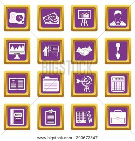 Business plan icons set in purple color isolated vector illustration for web and any design