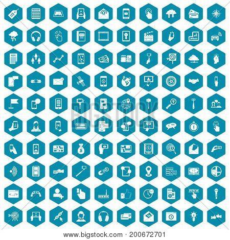 100 mobile icons set in sapphirine hexagon isolated vector illustration