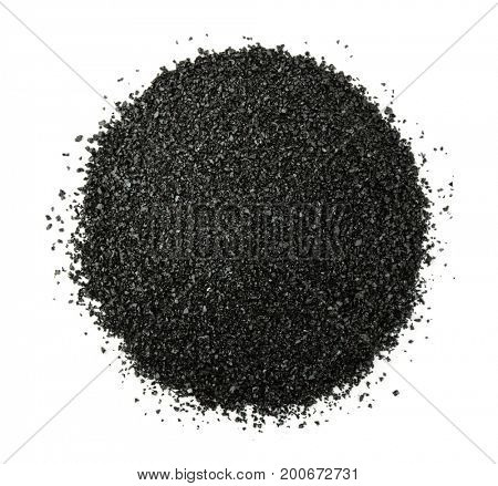Top view of crushed anthracite isolated on white