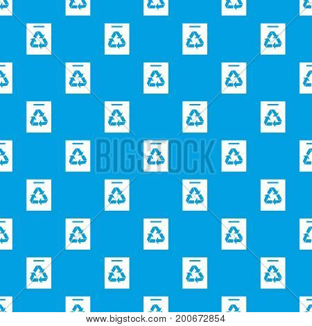 Recycling pattern repeat seamless in blue color for any design. Vector geometric illustration
