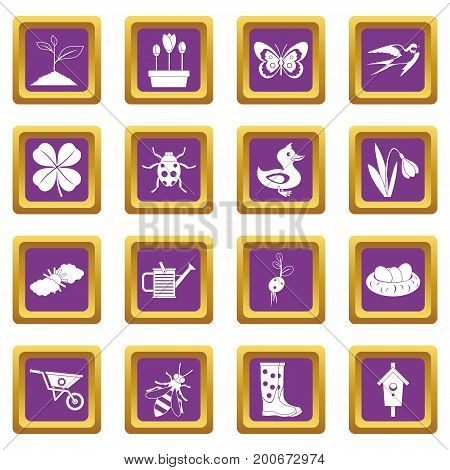 Spring icons set in purple color isolated vector illustration for web and any design