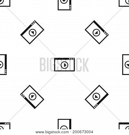 Program for video playback pattern repeat seamless in black color for any design. Vector geometric illustration