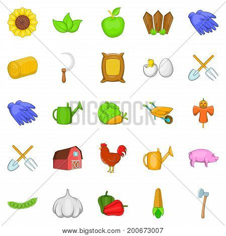 Grower icons set. Cartoon set of 25 grower vector icons for web isolated on white background