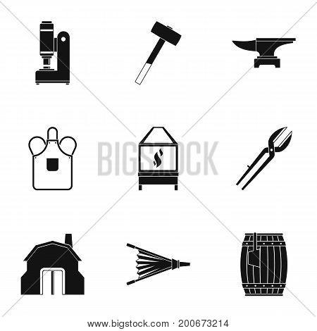 Blacksmith equipment icon set. Simple set of 9 blacksmith equipment vector icons for web isolated on white background