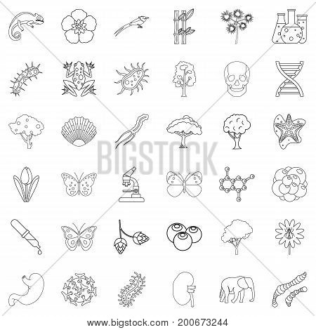 Biology icons set. Outline style of 36 biology vector icons for web isolated on white background