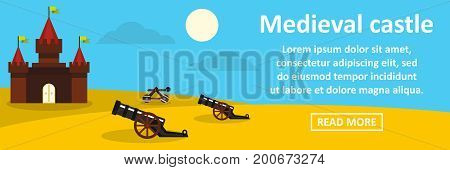 Medieval castle banner horizontal concept. Flat illustration of medieval castle banner horizontal vector concept for web