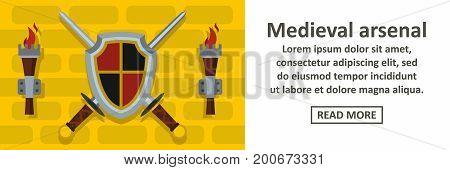 Medieval arsenal banner horizontal concept. Flat illustration of medieval arsenal banner horizontal vector concept for web