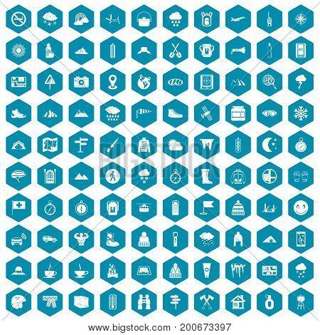 100 mountaineering icons set in sapphirine hexagon isolated vector illustration