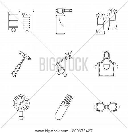 Welder equipment icon set. Outline set of 9 welder equipment vector icons for web isolated on white background