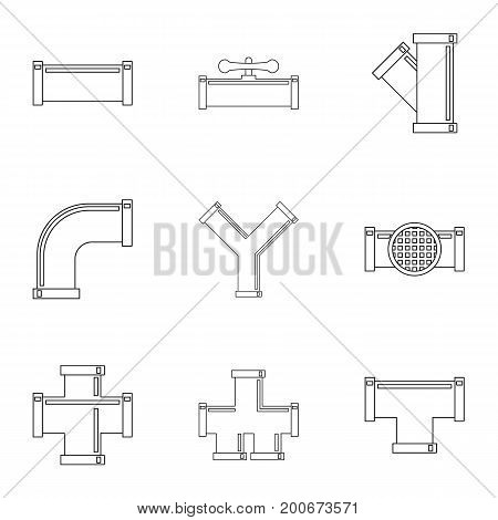 Water tube icon set. Outline set of 9 water tube vector icons for web isolated on white background