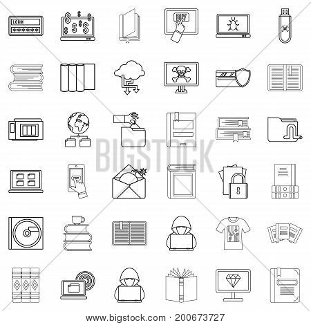 Book icons set. Outline style of 36 book vector icons for web isolated on white background