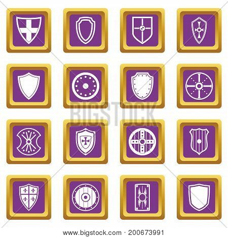 Shield frames icons set in purple color isolated vector illustration for web and any design