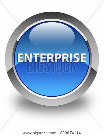 Enterprise Glossy Blue Round Button