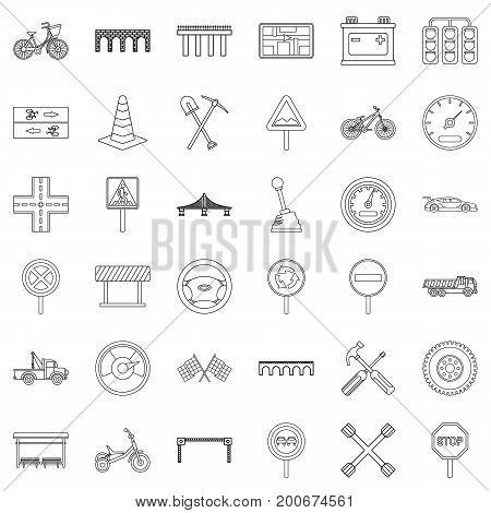 Bridge icons set. Outline style of 36 bridge vector icons for web isolated on white background