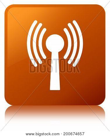 Wlan Network Icon Brown Square Button