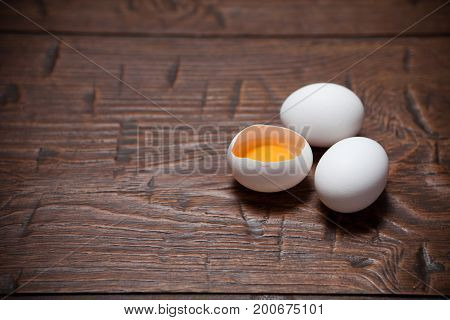 Eggs On A Wooden Rustic Table
