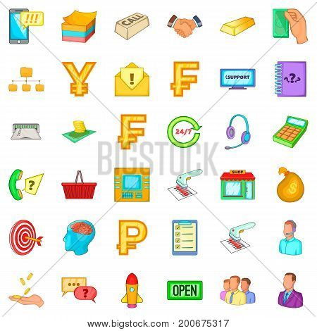 Business day icons set. Cartoon style of 36 business day vector icons for web isolated on white background