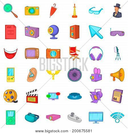 Camera icons set. Cartoon style of 36 camera vector icons for web isolated on white background