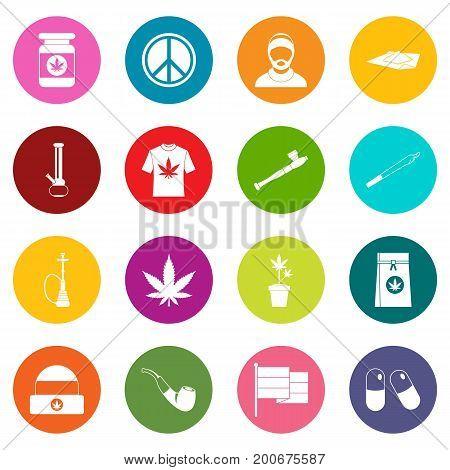 Rastafarian icons many colors set isolated on white for digital marketing