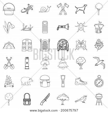 Camping icons set. Outline style of 36 camping vector icons for web isolated on white background