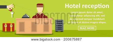 Hotel reception banner horizontal concept. Flat illustration of hotel reception banner horizontal vector concept for web