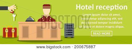 Hotel reception banner horizontal concept. Flat illustration of hotel reception banner horizontal vector concept for web