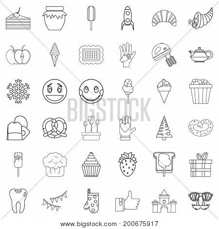 Candy icons set. Outline style of 36 candy vector icons for web isolated on white background