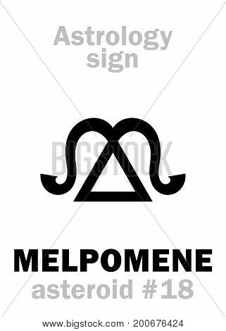 Astrology Alphabet: MELPOMENE (muse of tragedy), asteroid #18. Hieroglyphics character sign (single symbol).