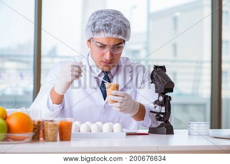 Nutrition expert testing food products in lab