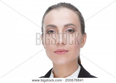 closeup. face of a woman employee of the office