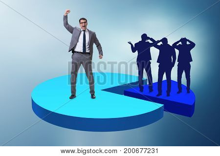 Businessman standing on pie chart in business concept