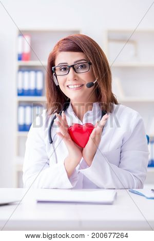 Heart doctor in telemedicine medical concept