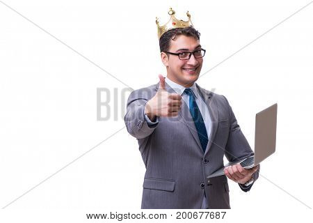 king businessman holding a laptop isolated on white background