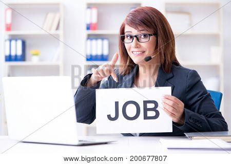 Businesswoman hiring new employees in office