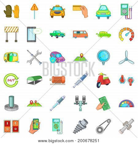 Car repair icons set. Cartoon style of 36 car repair vector icons for web isolated on white background