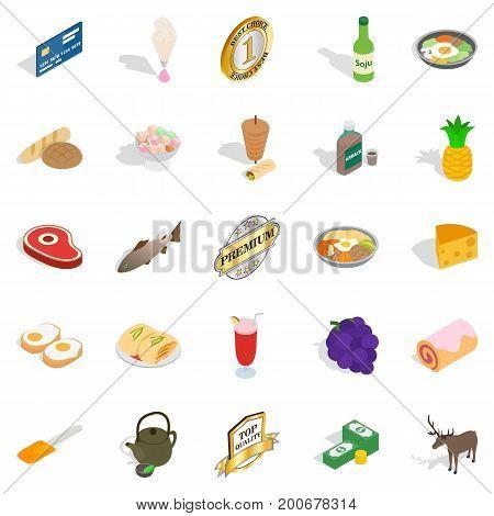 Gastronomy icons set. Isometric set of 25 gastronomy vector icons for web isolated on white background