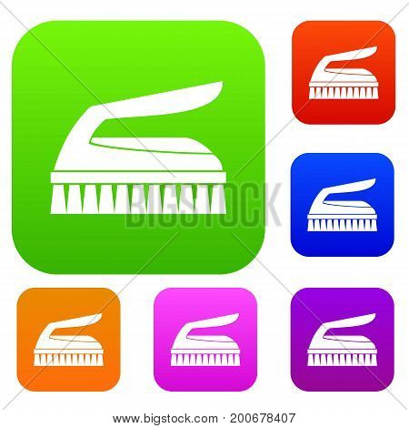 Brush for cleaning set icon in different colors isolated vector illustration. Premium collection