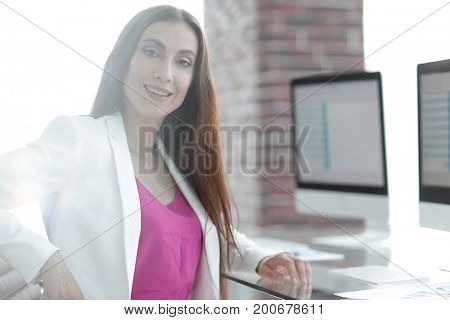 portrait of successful business lady in office